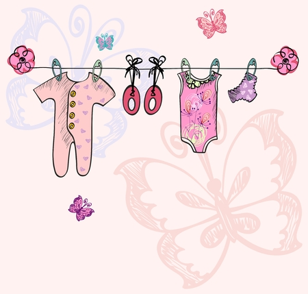 baby's bootee: Cute scrapbook  with baby elements. Hand draw illustration.