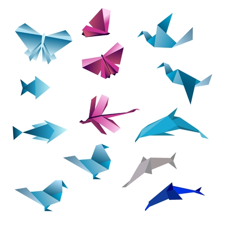 pink dolphin: Origami abstract background. Paper is transformed to birds.