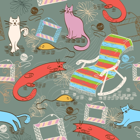 meow: Seamless pattern with colorful cats and rocking chair