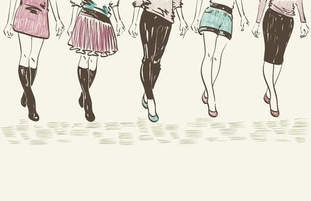 fashion show: sketch fashion models. Women show fashionable clothes Illustration