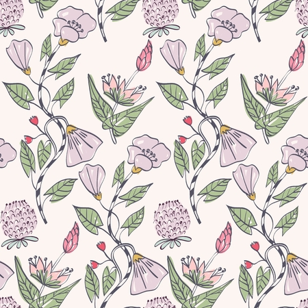 soulful: Floral background. Seamless pattern with realistic plants.