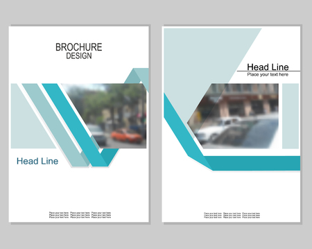 Vector brochure cover templates with blurred cityscape. EPS 10. Mesh background. Vettoriali