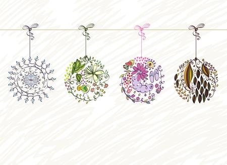 un conjunto de cuatro estaciones de flores ilustración.