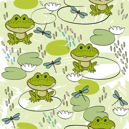 water birth: Sweet seamless pattern with frogs and dragonflies Illustration