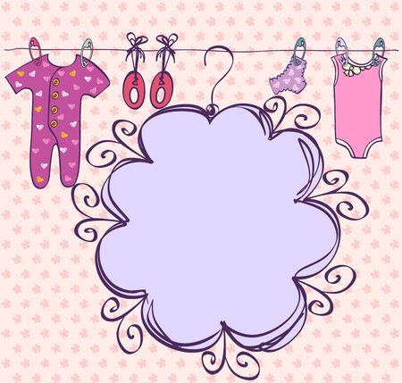 baby's bootee: Cute hand drawn scrapbook  with baby elements.