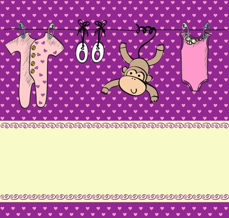 baby's bootee: Cute scrapbook  with baby elements.