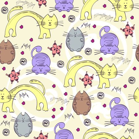 seamless pattern with unusual cats