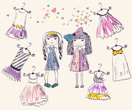 kid drawing: fashionable beautiful clothes for little girls Illustration