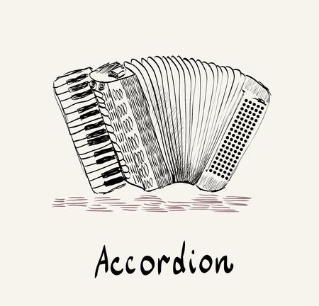 Hand gezeichnet Akkordeon auf einem hellen Hintergrund Vektorgrafik