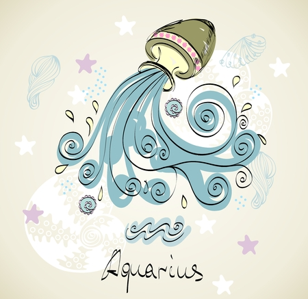 vedic: hand drawn sign of the Zodiac  Aquarius