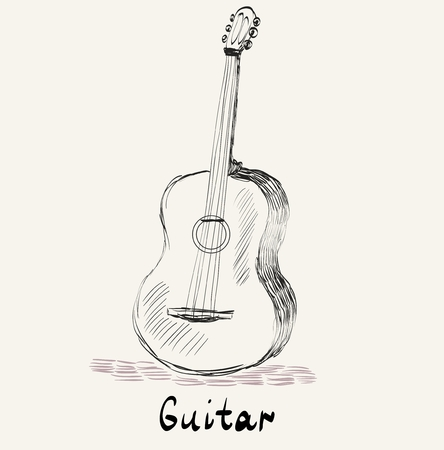 sketch acoustic guitar on a beige background