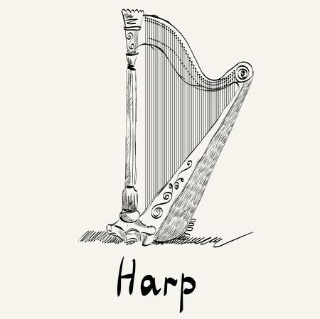arpa: Dibujado a mano ilustración de una antigua arpa.