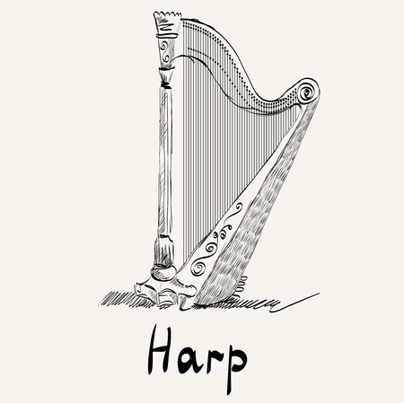 Hand drawn illustration of an ancient harp. Illustration