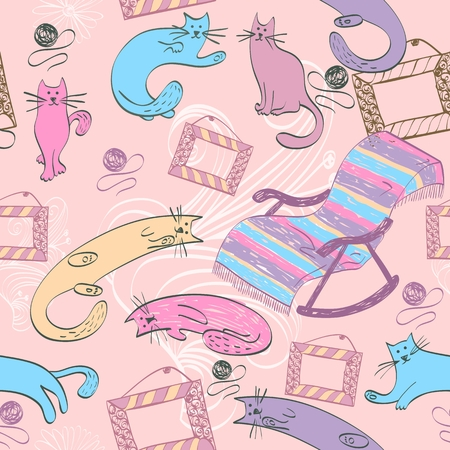 rocking chair: Seamless pattern with colorful cats and rocking chair