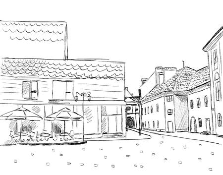 sketch: City sketch. vector illustration