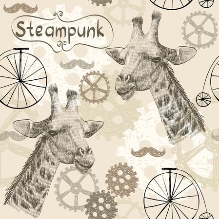 automaton: drawn illustration of an  giraffe in style steampunk Illustration