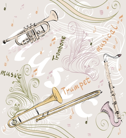 symphonic: hand drawn seamless pattern of  musical instruments