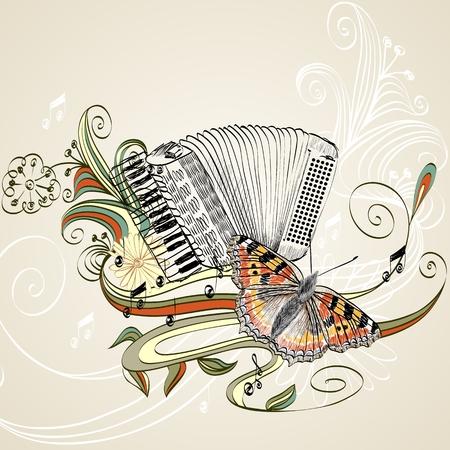 mano fisarmonica disegnato su uno sfondo chiaro