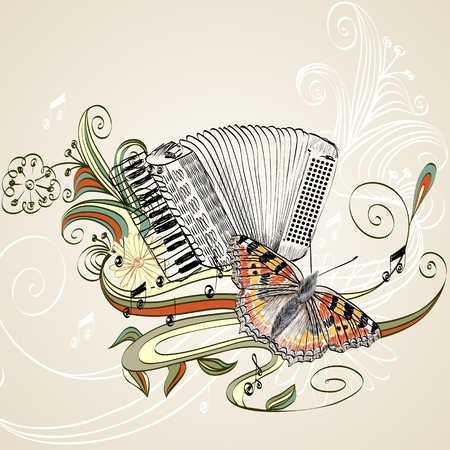 hand drawn accordion on a light background