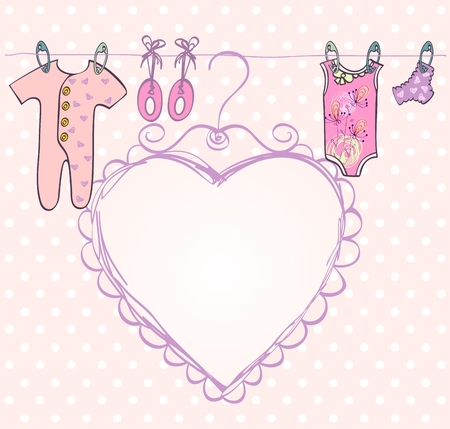baby's bootee: Cute hand draw scrapbook  with baby elements. Illustration
