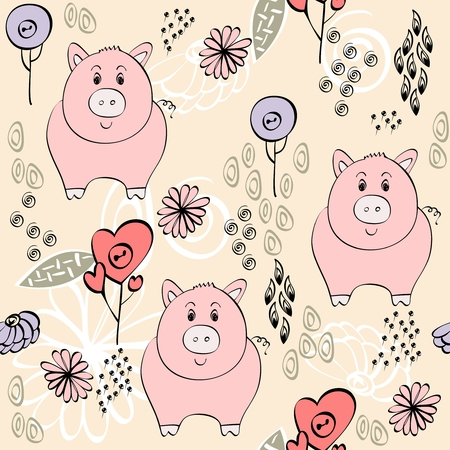 babies hand draw seamless pattern with pigs