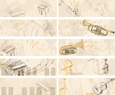 cellos: Vector Sketch musical instruments on a light background. Banners Illustration
