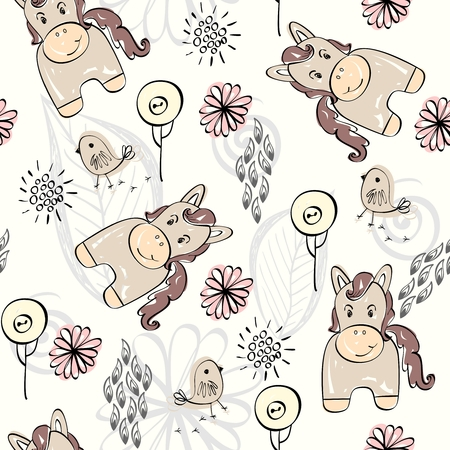horse care: babies hand draw seamless pattern with horse