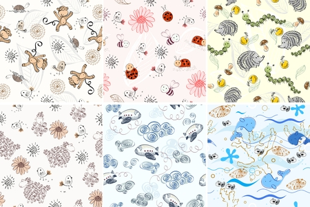 cockleshell: vector hand draw seamless pattern with animals