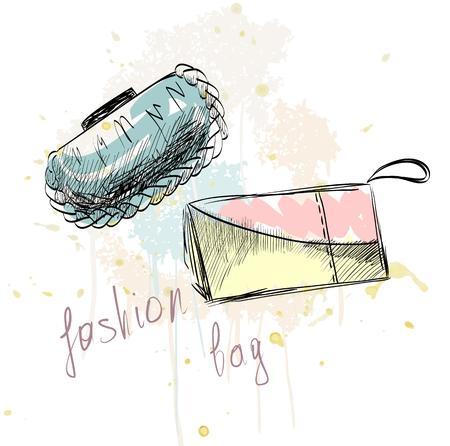 clutch bag: trendy fashion  handbags.  Fashionable Hand drawn illustration.