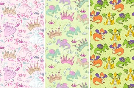 プリンセス アクセサリーと城、龍とのシームレスなパターン  イラスト・ベクター素材