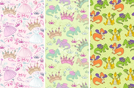 seamless pattern with  princess accessories and castle, dragons