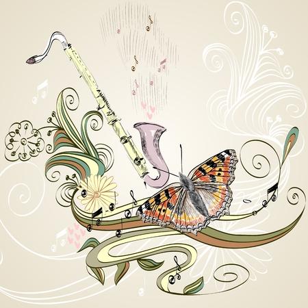 soprano saxophone: ilustración dibujada de un clarinete instrumento musical. Vectores