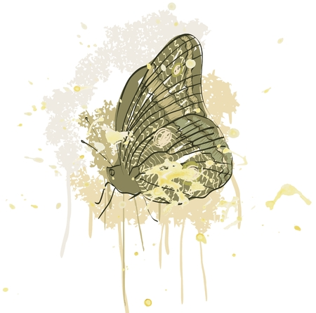 hand drawing butterfly on smeared paint brush