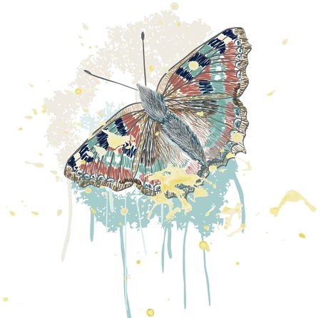 smeared: hand drawing butterfly on smeared paint brush