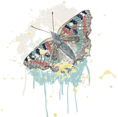 Main papillon de dessin sur pinceau enduit Banque d'images - 64367062