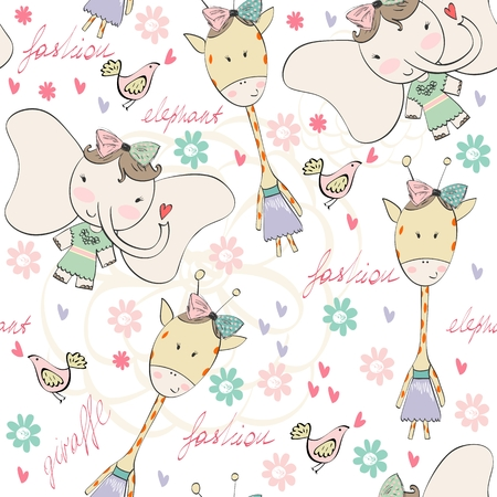 fabric patterns: Fashion elephant and giraffe. Vector hand drawn illustration
