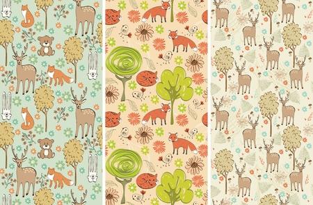 brown hare: vector hand drawn seamless pattern with animals
