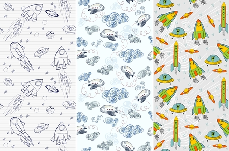 comet: Seamless pattern with rockets, airplane, comet, planets and ufo. Childish background.