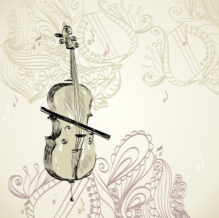 cellos: sketch of violoncello on a beige background Illustration