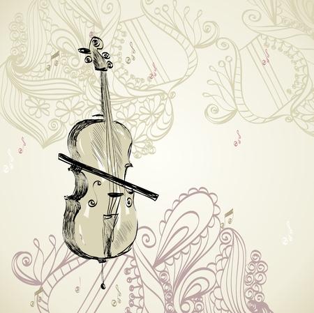 violoncello: sketch of violoncello on a beige background Illustration