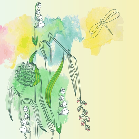swill: Watercolor floral background with garlic and plants Illustration
