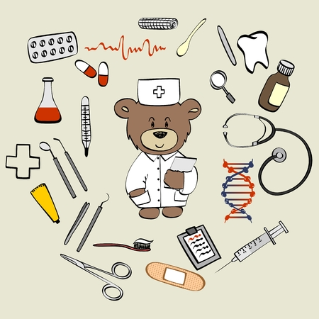 medical instruments: healthcare and medical research background. Vector medical instruments