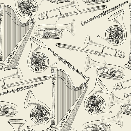 oboe: hand drawn seamless pattern of  musical instruments