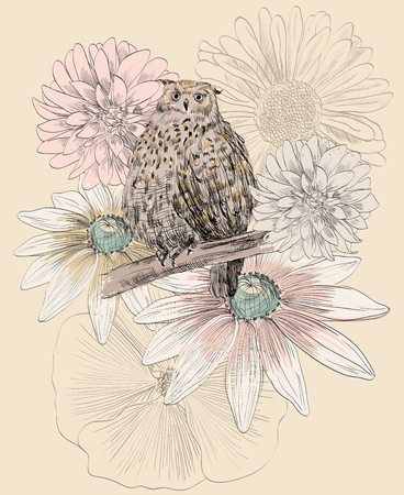 Vector sketch of a owl with flowers. Vector illustration