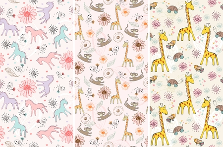 horse care: Sweet babies doodle seamless pattern. Pastel background. Illustration