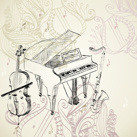 violoncello: sketch of musical instruments on a beige background Illustration