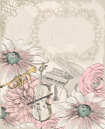 cellos: Retro background. Musical instruments and blooming summer flowers