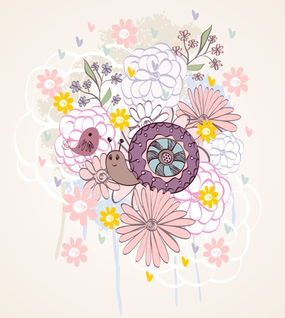 cochlea: Stylish floral background with cartoon snail in light colors.