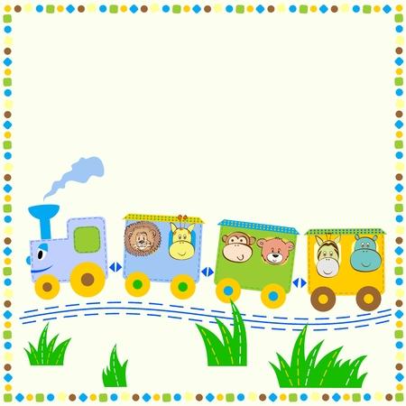 fondo para bebe: tren alegre con animales. Los bebés de fondo para el texto.