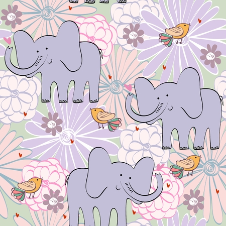 Vector illustration with cartoon elephant with flowers. Seamless pattern